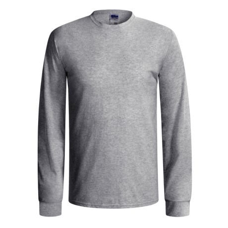 Gildan Cotton T-Shirt - Long Sleeve (For Men and Women) in Grey Heather