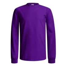 Gildan Cotton T-Shirt - Long Sleeve (For Men and Women) in Purple - 2nds