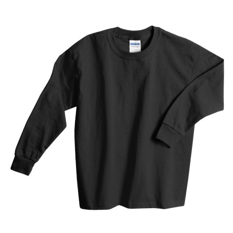 Gildan Cotton T-Shirt - Long Sleeve (For Youth) in Black