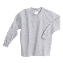 Gildan Cotton T-Shirt - Long Sleeve (For Youth) in Grey Heather - 2nds