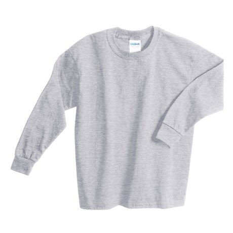 Gildan Cotton T-Shirt - Long Sleeve (For Youth) in Grey Heather
