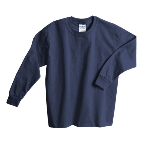 Gildan Cotton T-Shirt - Long Sleeve (For Youth) in Navy