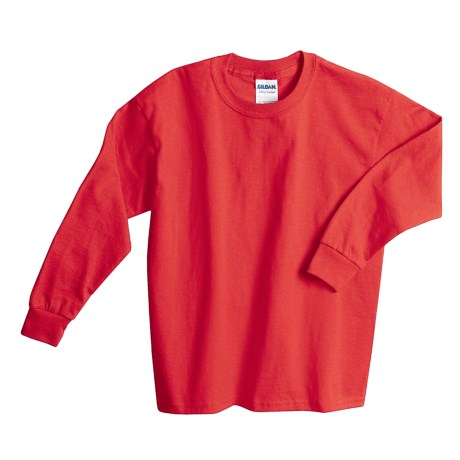 Gildan Cotton T-Shirt - Long Sleeve (For Youth) in Red
