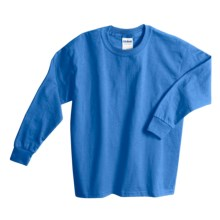 Gildan Cotton T-Shirt - Long Sleeve (For Youth) in Turquoise - 2nds