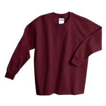 Gildan Cotton T-Shirt - Long Sleeve (For Youth) in Wine - 2nds