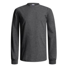 Gildan Crew Shirt - Long Sleeve (For Men and Women) in Charcoal Heather - 2nds