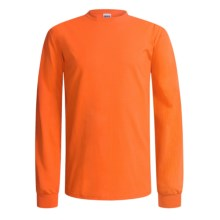 Gildan Crew Shirt - Long Sleeve (For Men and Women) in Florescent Orange - 2nds