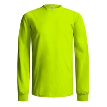 Gildan Crew Shirt - Long Sleeve (For Men and Women) in Florescent Yellow - 2nds