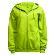 Gildan Zip Hoodie Sweatshirt (For Men and Women) in Florescent Yellow - 2nds