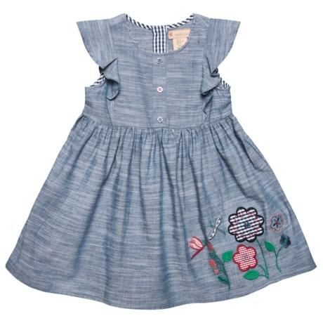 Gillian's Closet Flutter Sleeve Chambray Dress - Short Sleeve (For Little Girls) in Dark Chambray
