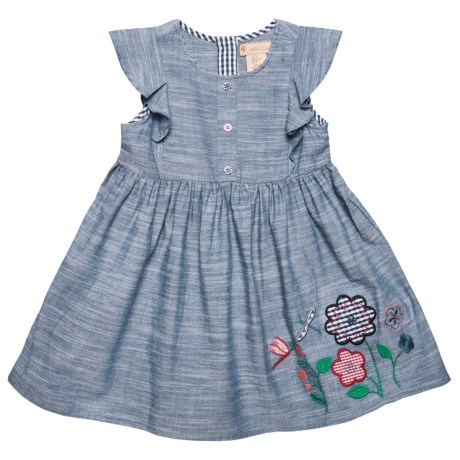 Gillian's Closet Flutter Sleeve Chambray Dress - Short Sleeve (For Toddler Girls) in Dark Chambray