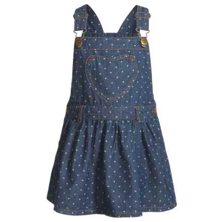 Gillian's Closet Overall Denim Dress - Sleeveless (For Toddler Girls) in Denim Dot Whte - Closeouts