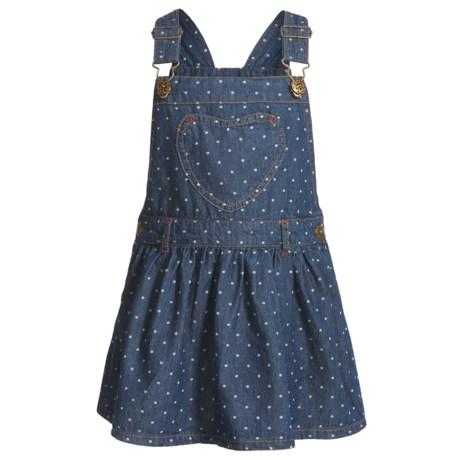 Gillian's Closet Overall Denim Dress - Sleeveless (For Toddler Girls) in Denim Dot Whte