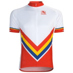 Giordana Retro Stripe Cycling Jersey - Short Sleeve (For Men) in Red/Retro