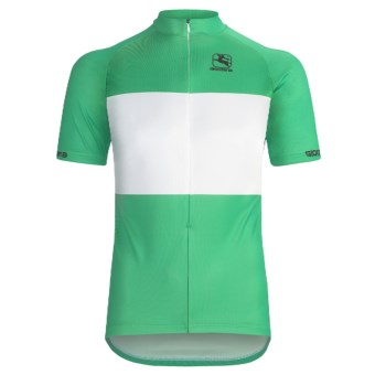 Giordana Sprinter Pro Cycling Jersey - Short Sleeve (For Men) in Green/White