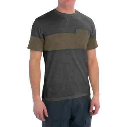 Giro CA Ride Cycling T-Shirt - Merino Wool Blend, Short Sleeve (For Men) in Black/Black Olive - Closeouts