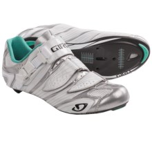 Giro Factress Road Cycling Shoes - 3-Hole (For Women) in Chrome/White/Teal - Closeouts