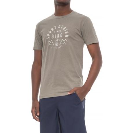 Giro Geo Tech T-Shirt - Cotton Blend, Short Sleeve (For Men) in Warm Gray Mountain Logo