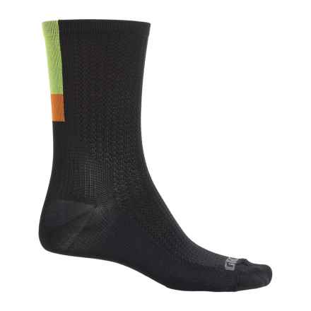 Giro HRc Team Cycling Socks - 3/4 Crew (For Men and Women) in Black/Bright Lime - Closeouts