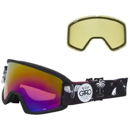Giro Semi Flash Ski Goggles - Extra Lens in Black Fresh Hesh/Rose Spectrum W/ Yellow - Closeouts