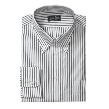 Gitman Brothers Bar Stripe Dress Shirt - Long Sleeve (For Tall Men) in Black/White - Closeouts