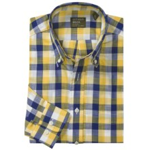 Gitman Brothers Button Down Pattern Sport Shirt - Long Sleeve (For Men) in Navy/Yellow/White Check - Closeouts