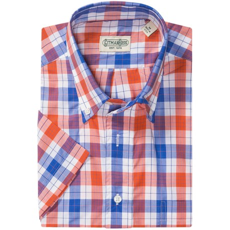 Gitman Brothers Button Down Sport Shirt - Short Sleeve (For Men) in Blue/Orange/White Plaid