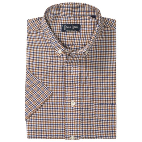 Gitman Brothers Button Down Sport Shirt - Short Sleeve (For Men) in Brown/Tan Multi Check