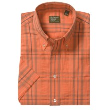Gitman Brothers Button Down Sport Shirt - Short Sleeve (For Men) in Orange Plaid - Closeouts