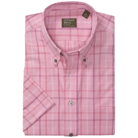 Gitman Brothers Button Down Sport Shirt - Short Sleeve (For Men) in Pink Plaid