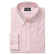Gitman Brothers Cambridge Oxford Stripe Dress Shirt - Long Sleeve (For Tall Men) in White/Pink - Closeouts