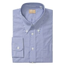Gitman Brothers Cotton Check Dress Shirt - Long Sleeve (For Tall Men) in Blue/White - Closeouts