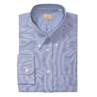 Gitman Brothers Cotton Check Dress Shirt - Long Sleeve (For Tall Men) in Blue/White