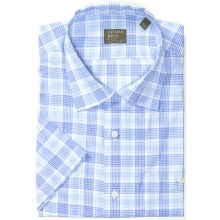 Gitman Brothers Cotton Sport Shirt - Short Sleeve (For Men) in Light Blu/White Checked Plaid - Closeouts
