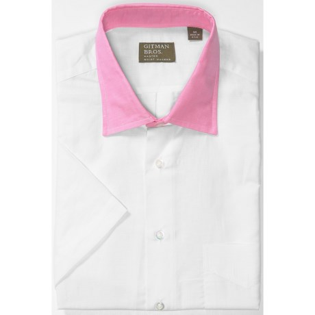 Gitman Brothers Cotton Sport Shirt - Short Sleeve (For Men) in White/Pink Collar