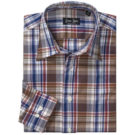 Gitman Brothers Cotton Sport Shirt - Spread Collar, Long Sleeve (For Men) in Burgundy Plaid