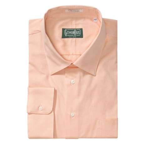 Gitman Brothers Dress Shirt - Spread Collar, Long Sleeve (For Big and Tall Men) in Peach