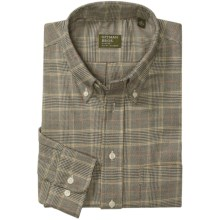 Gitman Brothers Flannel Sport Shirt - Long Sleeve (For Men) in Black/Natural/Gold/Red Textured Check - Closeouts