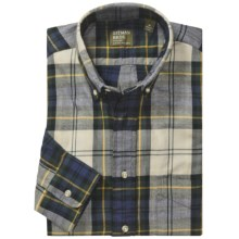 Gitman Brothers Flannel Sport Shirt - Long Sleeve (For Men) in Natural/Forest/Navy/Yellow Plaid - Closeouts