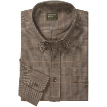 Gitman Brothers Flannel Sport Shirt - Long Sleeve (For Men) in Tan/Brown/Red Houndstooth - Closeouts