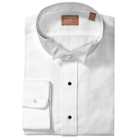 Gitman Brothers French Cuff Dress Shirt - Long Sleeve (For Men) in White Waffle Weave/Wing Tip Collar