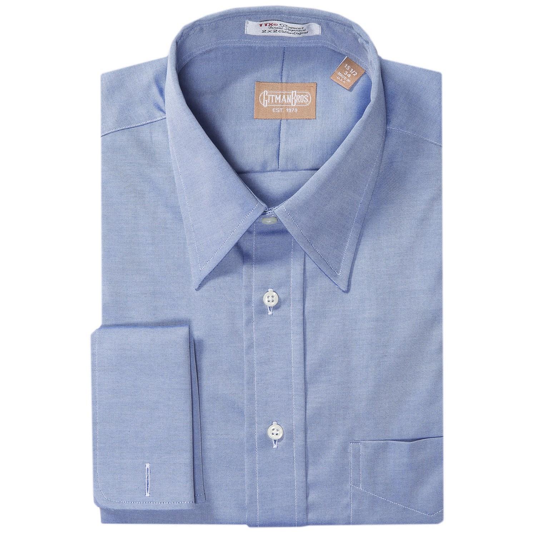Gitman brothers pinpoint cotton dress shirt point collar for Mens pinpoint dress shirts