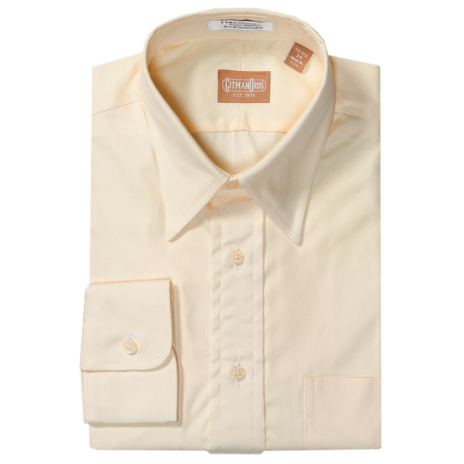 Gitman Brothers Pinpoint Cotton Oxford Dress Shirt Point
