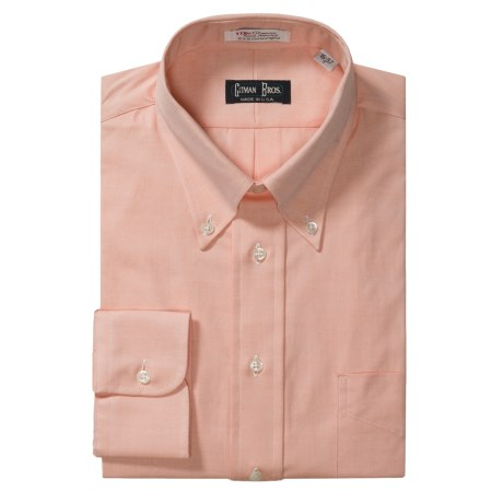 Gitman Brothers Pinpoint Oxford Dress Shirt - Long Sleeve (For Tall Men) in Melon