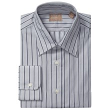 Gitman Brothers Point Collar Dress Shirt - Long Sleeve (For Men) in Light Grey/Charcoal Stripe - Closeouts