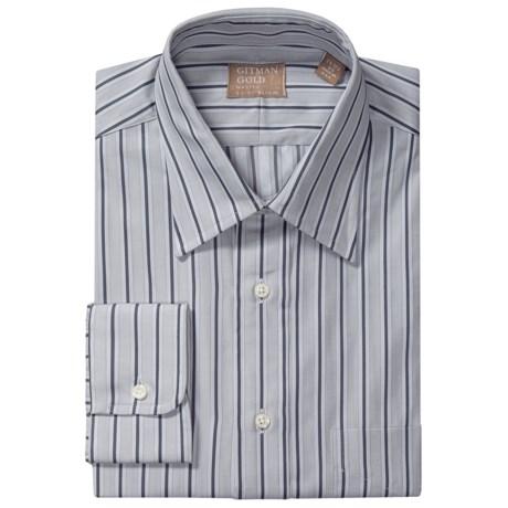 Gitman Brothers Point Collar Dress Shirt - Long Sleeve (For Men) in Light Grey/Charcoal Stripe