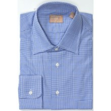 Gitman Brothers Point Collar Dress Shirt - Long Sleeve (For Men) in White/Medium Blue Plaid - Closeouts