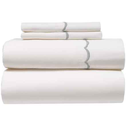 Gitman Brothers Scallop Egyptian Cotton Sheet Set - Queen, 300 TC in White - Closeouts