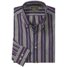 Gitman Brothers Sport Shirt - Long Sleeve (For Men) in Dark Purple/Slate Blue/Tan/Lilac Stripe - Closeouts