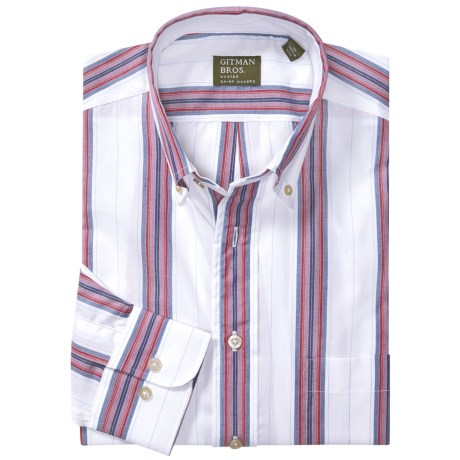 Gitman Brothers Sport Shirt - Long Sleeve (For Men) in Red/White/Grey Stripe